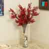 Red Plastic Artificial Flowers - Set of 2